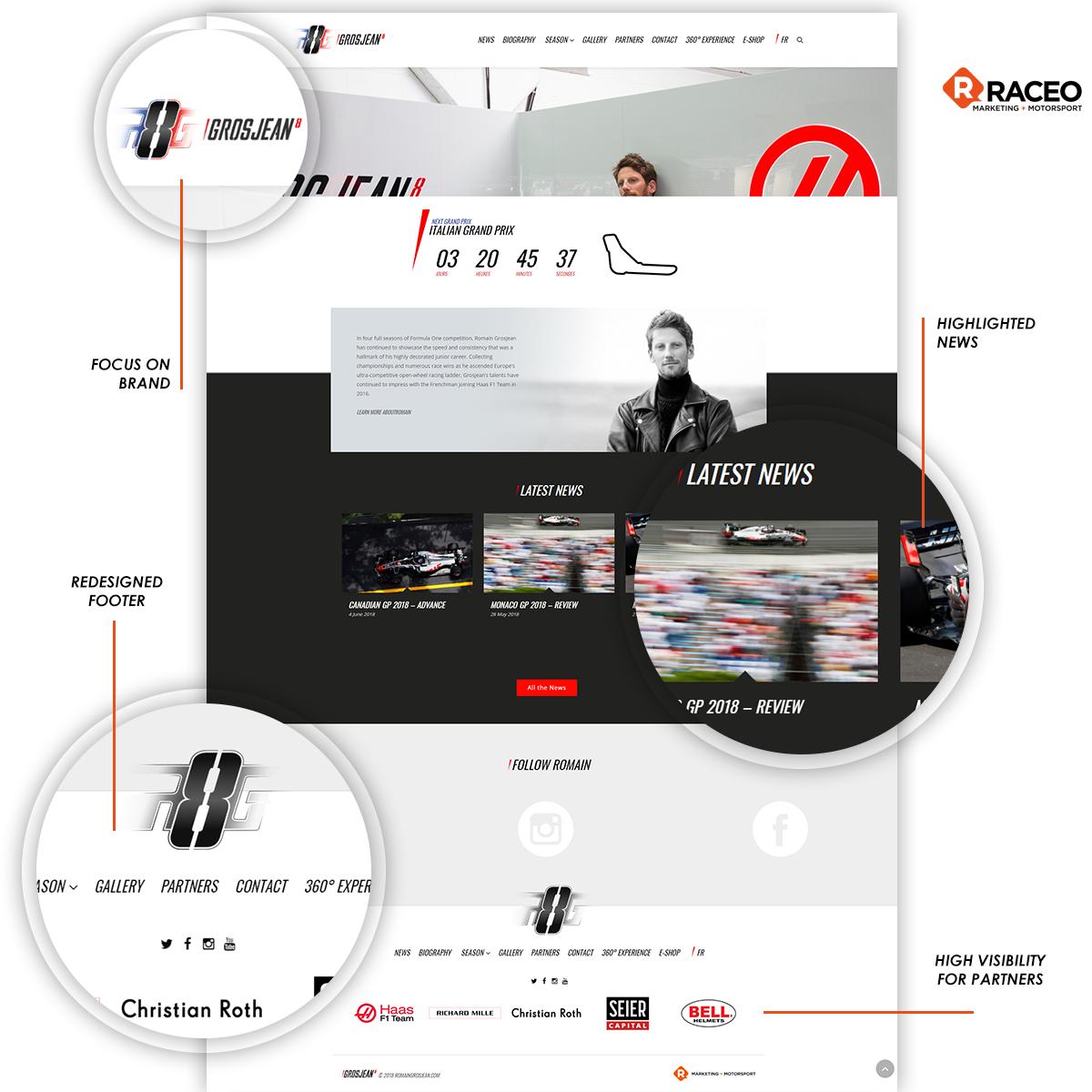 Raceo redesigned Romain Grosjean's website - Raceo